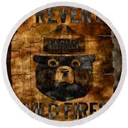 Smokey The Bear Only You Can Prevent Wild Fires Round Beach Towel