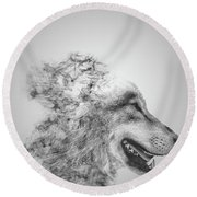 Smokey Wolf Round Beach Towel