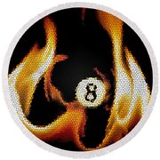 Smokin' 8 Ball II Round Beach Towel