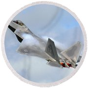 Round Beach Towel featuring the digital art Smokin - F22 Raptor On The Go by Pat Speirs