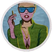 Smoking Woman Sunglasses  Round Beach Towel