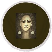 Smoking Woman 1 Round Beach Towel