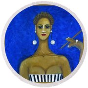 Smoking Woman 2 Round Beach Towel