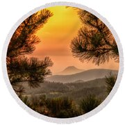 Round Beach Towel featuring the photograph Smoky Black Hills Sunrise by Fiskr Larsen