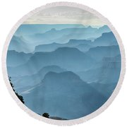 Round Beach Towel featuring the photograph Smoky Canyons by Steven Sparks