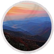 Dawn From Standing Indian Mountain Round Beach Towel