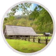 Smoky Mountain Barn Round Beach Towel