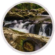 Smoky Mountain Cascade Round Beach Towel