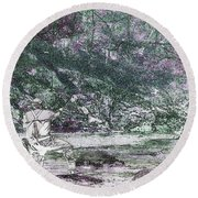 Round Beach Towel featuring the photograph Smoky Mountain Fisherman by Mike Eingle