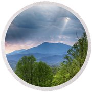 Smoky Mountain Light Round Beach Towel