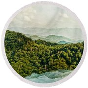 Smoky Mountain Reflections Round Beach Towel