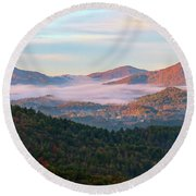 Smoky Mountain Valley Fog Round Beach Towel