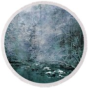 Smoky Mountain Winter Round Beach Towel