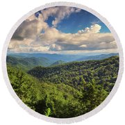 Smoky Mountains Panorama Round Beach Towel