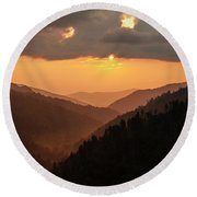 Smoky Mountains Sunset - D010157 Round Beach Towel