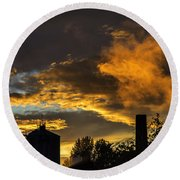 Round Beach Towel featuring the photograph Smoky Sunset by Jeremy Lavender Photography