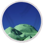 Smooth Green Mountians Round Beach Towel