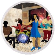 Smooth Jazz At City View Round Beach Towel by Everett Spruill