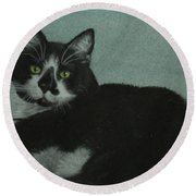 Round Beach Towel featuring the drawing Smudge by Jennifer Watson