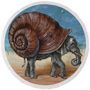 Snailephant Round Beach Towel