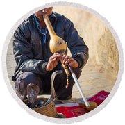 Snake Charmer Round Beach Towel by Inge Johnsson