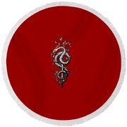 Snake Of Wisdom Round Beach Towel