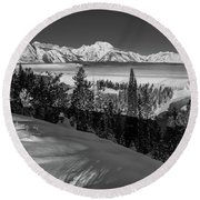 Snake River Overlook-winter Scene 79 Round Beach Towel