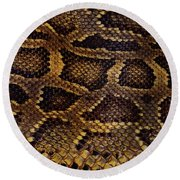 Round Beach Towel featuring the photograph Snake Skin by Kathy Baccari