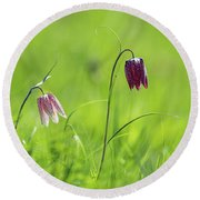 Snake's Head Pink And Purple Bells Round Beach Towel