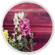 Snapdragons And Red Door Round Beach Towel