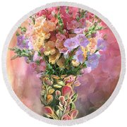 Round Beach Towel featuring the mixed media Snapdragons In Snapdragon Vase by Carol Cavalaris