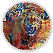 Snarling Lion Round Beach Towel