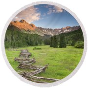 Sneffels Fence Horizontal Round Beach Towel