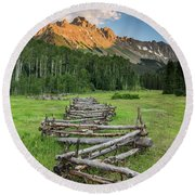 Sneffels Fence Vertical Round Beach Towel