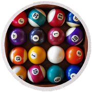Snooker Balls Round Beach Towel by Carlos Caetano