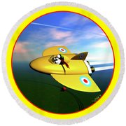 Snoopy The Flying Ace Round Beach Towel