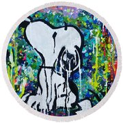Snoopy.cosmos Round Beach Towel