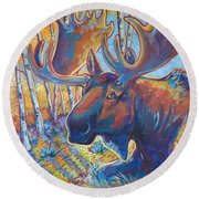Snooze In The Aspens Round Beach Towel