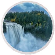 Snoqualmie Falls Rush Hour Round Beach Towel