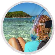 Snorkeler Relaxing On Tropical Beach Round Beach Towel
