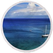 Round Beach Towel featuring the photograph Snorkeling In Maui by James Eddy