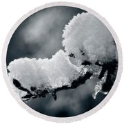 Round Beach Towel featuring the photograph Snow - 365-284 by Inge Riis McDonald