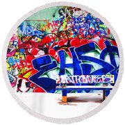 Snow And Graffiti Round Beach Towel