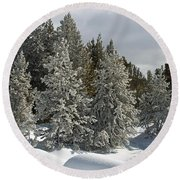 Snow And Ice Covered Evergreens At Sunset Lake  Round Beach Towel