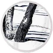 Snow And Shadows Round Beach Towel
