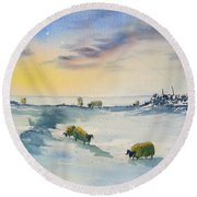 Snow And Sheep On The Moors Round Beach Towel