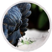 Round Beach Towel featuring the photograph Snow Angel Whisperer by Shelley Neff