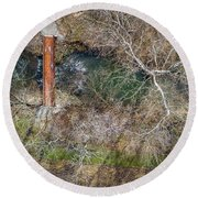 Snow Around The Creek Round Beach Towel