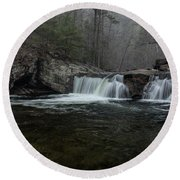 Snow At Baby Falls Round Beach Towel
