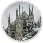 Snow At Milan's Duomo Cathedral  Round Beach Towel